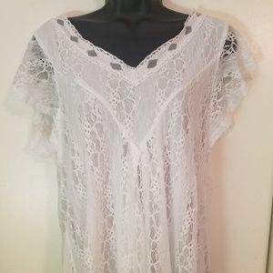 Knit and Lace Flutter Sleeve Pleated Swing Top